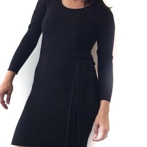 Bailey 44 black fitted dress with gathered side